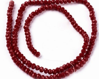 Dark Red rondelles, opaque 2x3mm, (145-150) beads/faceted beads, 2x3 mm roundelles, crystal roundelles, glass roundelles, roundelle beads