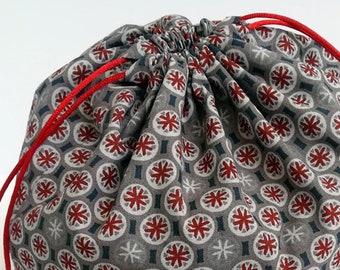 Sand Dollar Cotton Bento Bag, Sandwhich Bag, Snack Bag, Lunch Bag, Lunch Tote, Drawstring Bag, Cotton Bag, Kimono Fabric, Kawaii Goldfish