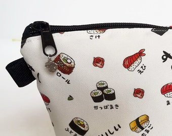 Water Resistant Makeup Bag, Travel Bag, Cosmetic Bag, Makeup Organiser, Makeup Pouch, Makeup Case, Storage Pouch, Sushi Fabric, Travel Gift
