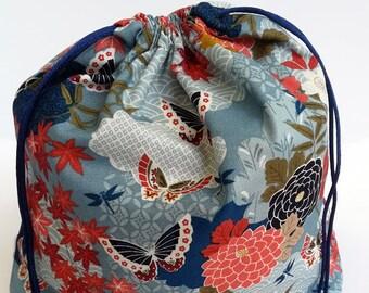 Japanese Kimono Bento Bag, Sandwhich Bag, Snack Bag, Lunch Bag, Lunch Tote, Drawstring Bag, Cotton Bag, Kimono Fabric, Kawaii Goldfish