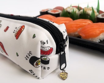 Sushi pencil case made with Poly Outdoor Fabric, Water Resistant, Sushi Pencil Case, Japanese Case, Crochet Hook Case, Small Oblong Bag