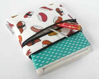 Denshi Jisho Japanese translator case made of polyester water-resistant fabric, padded, Japanese fabric in whimsical sushi or kokeshi print