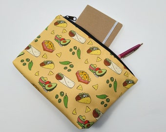 Taco Zipper Pouch - Water Resistant Makeup Bag, Project Bag, Cosmetics Bag, Makeup Organiser, Makeup Pouch, Makeup Case, Travel Gift