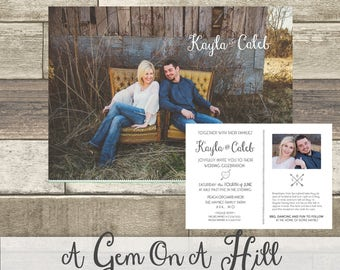 Photo Invitations, Wedding, Save the date, custom invitation, 5x7, Cards Invite Card Printable Template