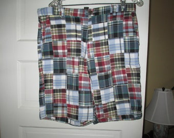 9c1451bf4f692 Nice Vintage Club Room AUTHENTIC INDIA MADRAS Patchwork Cotton Shorts ~  Mens 34