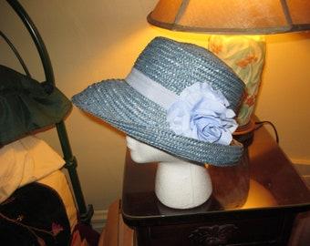 31af29c6d7160 Vintage Designer Kate Spade Blue Raffia Floppy ~ Bucket Hat ~ Very Nice ~  Stylish!