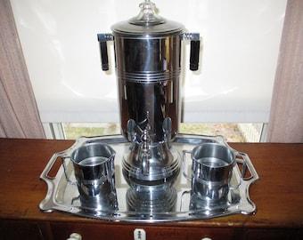 Stylish Vintage La Belle Silver Art Deco Chrome Percolator / Coffee Pot onnTray Set ~ NICE!