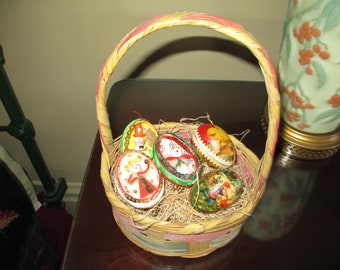 Charming Small Vintage Easter Basket With German Paper Mache Candy Containers!