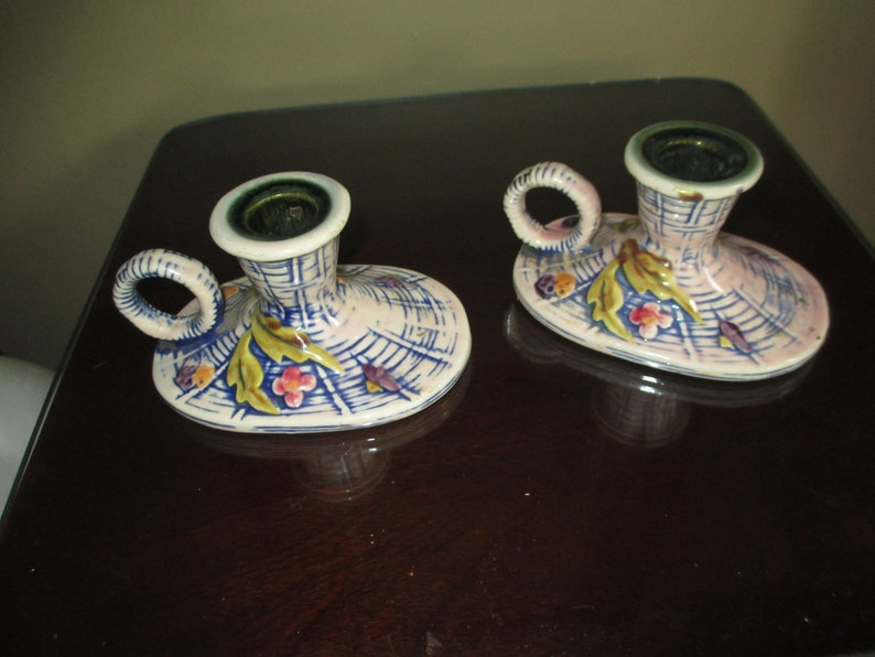 Rare Vintage Hull Pottery ~ Pink Blossom Flite T-11 Candle Stick Holder Set ~ Very Nice
