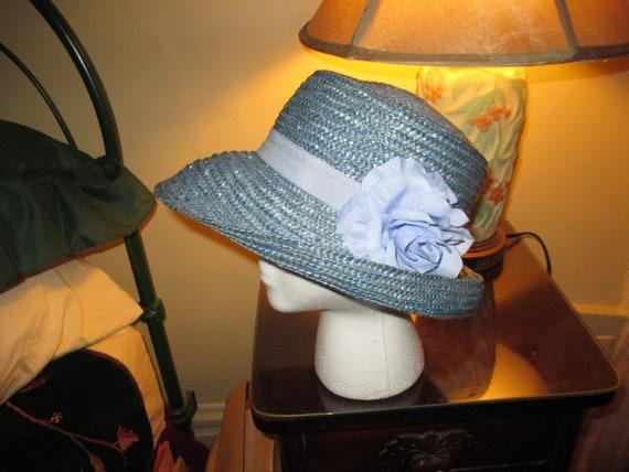 Vintage Designer Kate Spade Blue Raffia Floppy ~ B