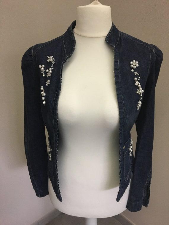 Jeans vest with rhinestones ' 90