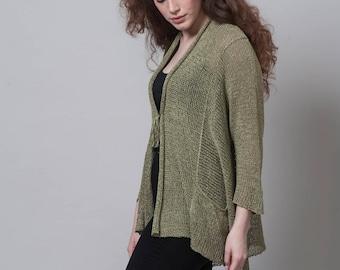 Knit Fashion, Women's Fall Fashion, Boho Top, Cardigan Sweater, Knit Sweater, Knit Jacket, Knit Cardigan, Long Top, Green Cardigan,Light Top
