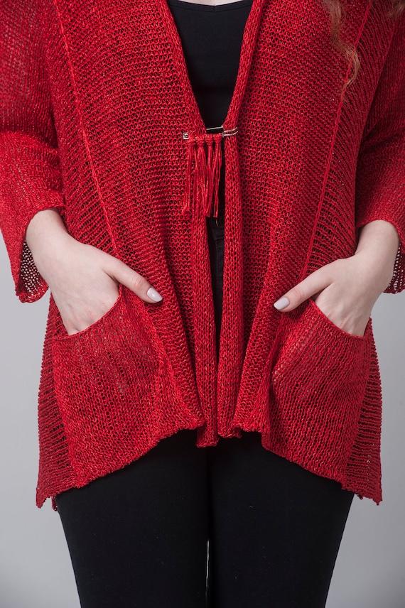 Bohemian Clothing, Fall Top, Knit Sweater, Cardigan Sweater, Knit Cardigan, Light Top, Cardigan Sweater, Red Cardigan, Knit Jacket, Fall Top