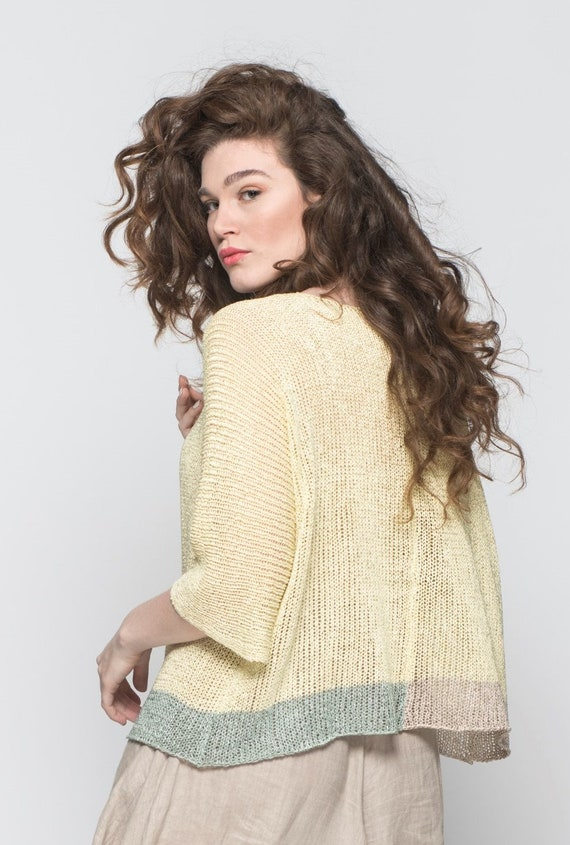 Sleeve Clothing Summer Knit 4 Top 3 Yellow Loose Wrap Summer Top Summer Top Boho Knit Top Top Crochet Women Tops Bohemian Top q6PZxtA