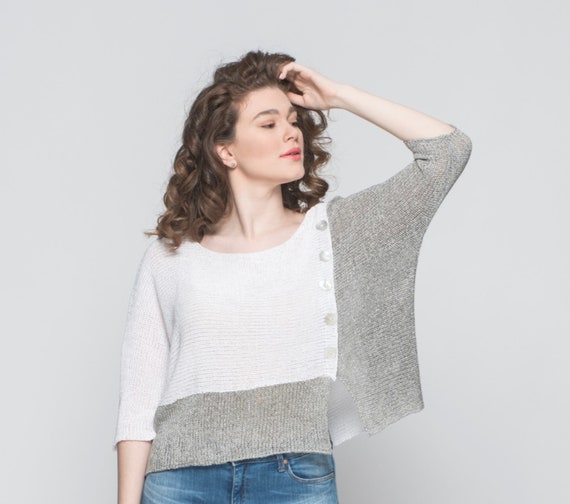 Women Top Bohemian Long Pullover Sweater Top Knit Clothing Knit Summer Loose Top Top Top Crochet Oversized Top Sleeve Women qYY8vzwnr