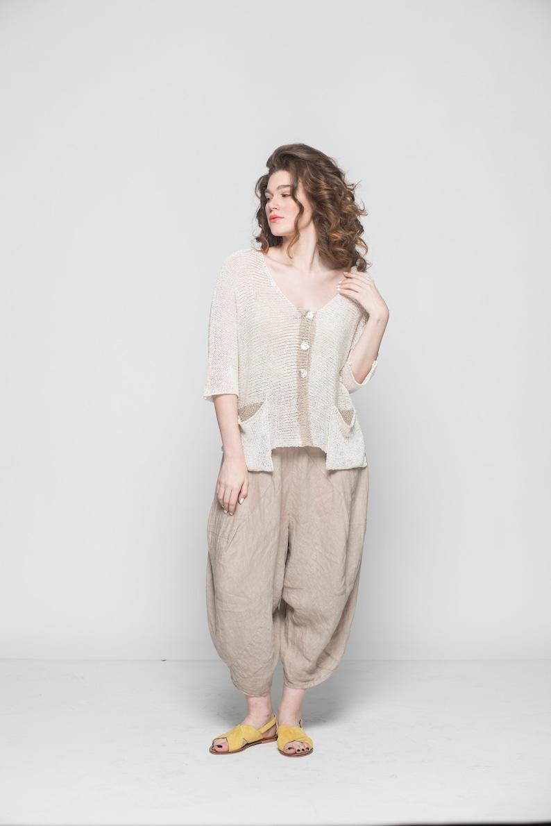 Oversized Top Cardigan Women Boho Top Off White Top 34 Sleeve Top Knit Cardigan Loose Top Crochet Top Cardigan Women Summer Top