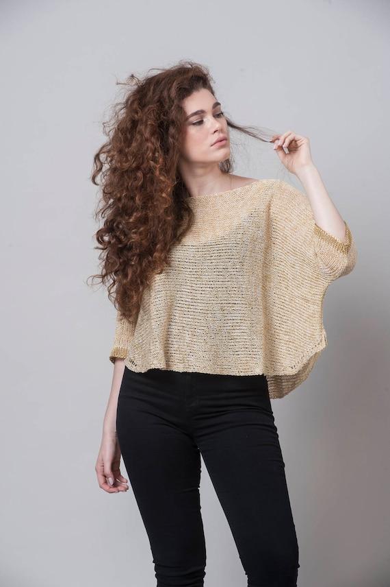 Oversized Knit Gold Knit Top Loose Women Look Clothing Sweater Top Sweater Sheer Top Oversized Fashion Bohemian Casual Top knitwear RqnSwrzR