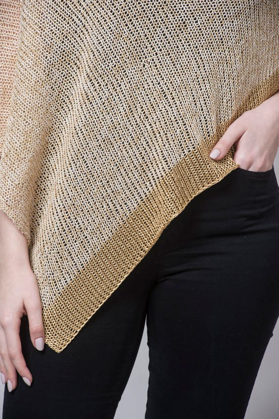 Crochet Top Poncho Fashion Boho Summer Knit Women Gold Top Poncho Boho Cape Wrap Knit Knit Poncho Knit Poncho Sweater Knit Poncho BnHxfqpw