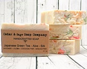 Green Tea Soap 6 oz Thick Bar Soap Aloe Vera Soap Silk Soap Palm Free Soap Herbal Tea Soap Cold Process Soap Handmade Soap