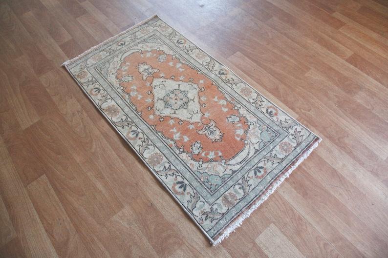 Tribal rug 3/'5x1/'10 Rug,Bathroom rug,Small Rug,muted tone rugs,Vintage Rug,Vintage Rug,Doormat Rug,Oushak Rug,Oriental Rug,Turkey Rug