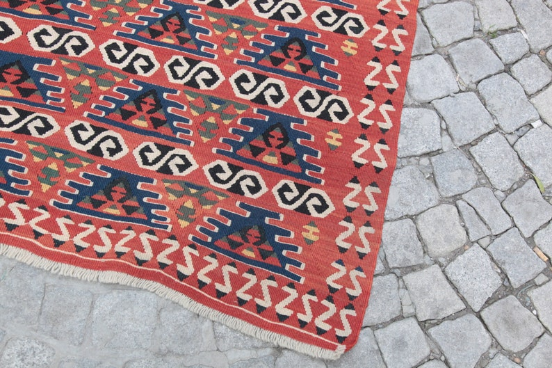 One of a Kind Kilim Runner,Vintage kilim,Red Color kilim,Hallway kilim,Decorative Kilim Runner,Corridor kilim,7/' 4/'/' x 2/' 10/'/' Feet kilim