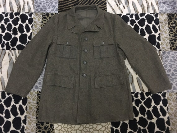 Vintage Military Army Wool Jacket Swedish Army But