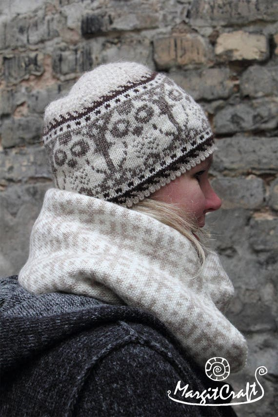 Knitted Nordic winter hat with owls chartwinter  81c10bd8229