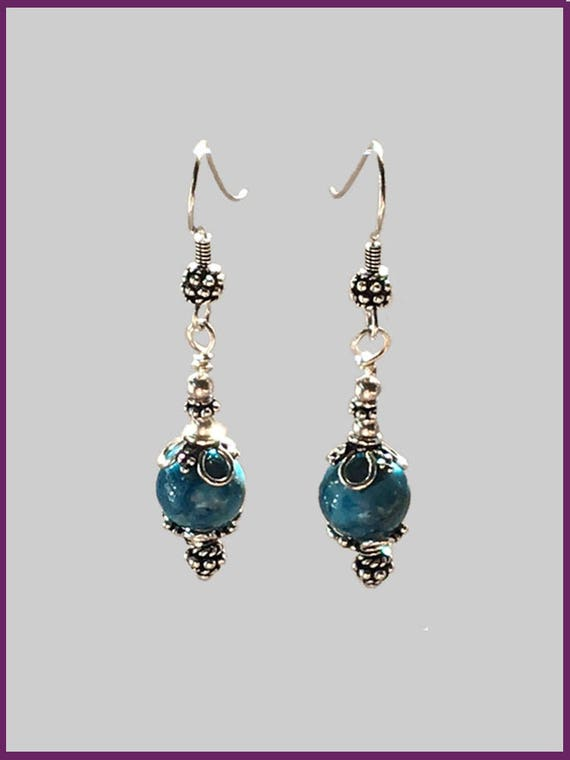 b3f78d57eb6ff French Wire Sterling Silver & Blue Crazy Lace Agate Earrings