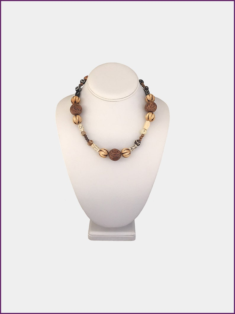 Palm wood Cube Wood Beads Rocky Road Ice Cream Necklace Tribal bone beads Wood Coated Burnt  flame pattern,Earth Multi Round Wood beads
