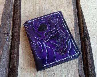 Handmade Minimalist Leather Wallet. Purple Skull Pattern. Free shipping!
