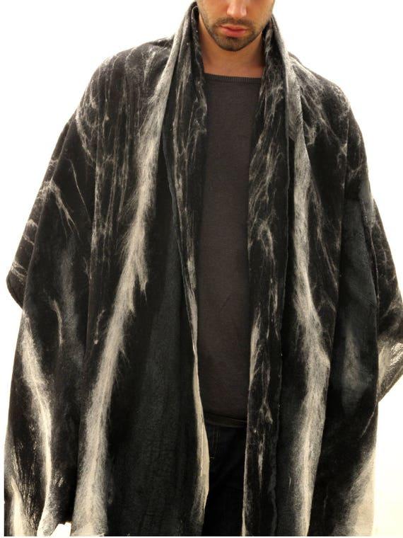 CADEAU pour les hommes mens grand foulard noir en laine châle   Etsy 677e02d213f