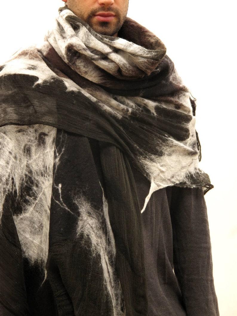 ed41b3f3c Poncho men Festival scarf Felted scarf Mens blanket scarf | Etsy