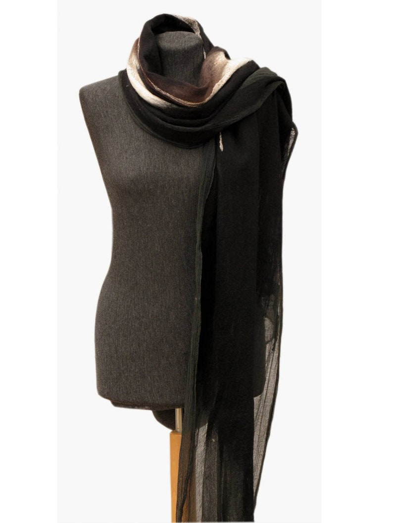 940acdd9a Felted wool and silk shawl for wmen Unique handmade merino | Etsy
