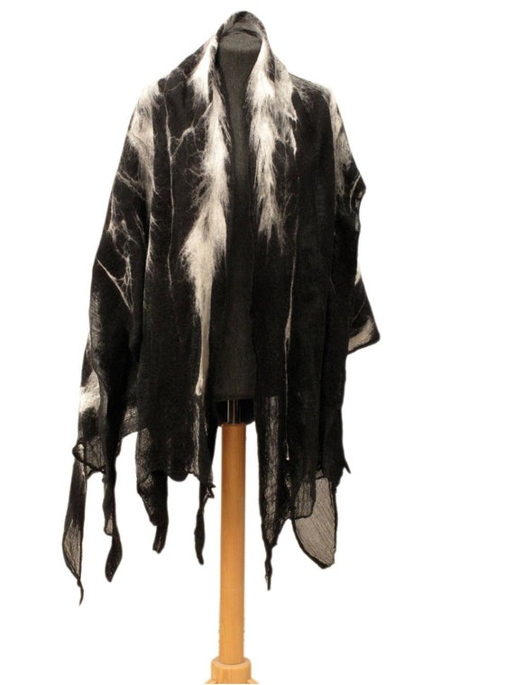 231cdc817 Tribal poncho for men Black and white wool wrap Nuno felt | Etsy