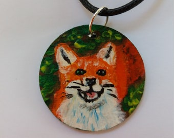 Hand painted wooden pendant necklace, red fox portrait, gift idea, female accessory, art on wood, artistic pendant,
