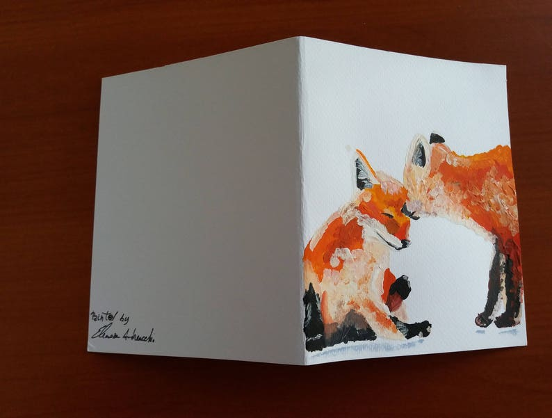 Hand-painted Greeting card with two sweet red foxes holiday Greeting card or any occasion
