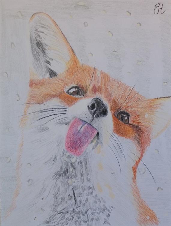Disegno Originale A Matita Con Ritratto Di Volpe Rossa Idea Etsy