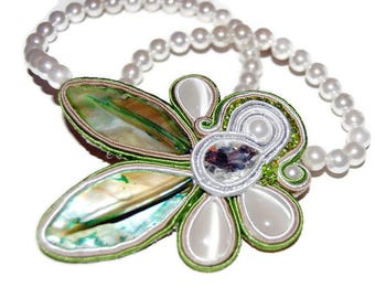 Soutache necklace, necklace for the bride, Shell jewelry, shell necklace, wedding jewelry