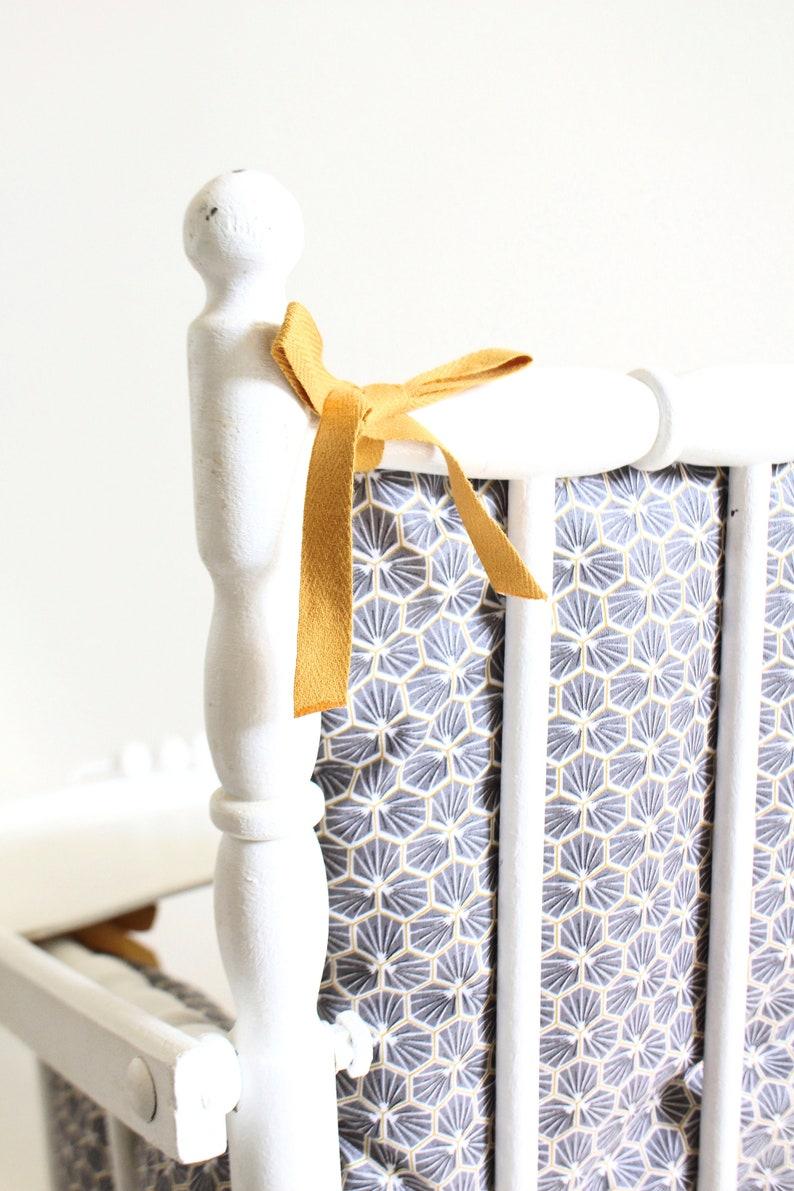 Coussin Chaise Haute Bébé En Coton Enduit Oeko Tex Sakura Gris