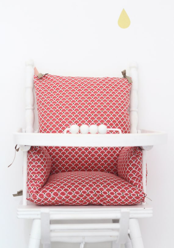 High Chair Okeo Tex Cotton Pillow Red Ethnik Chair Seat High Vintage Wood