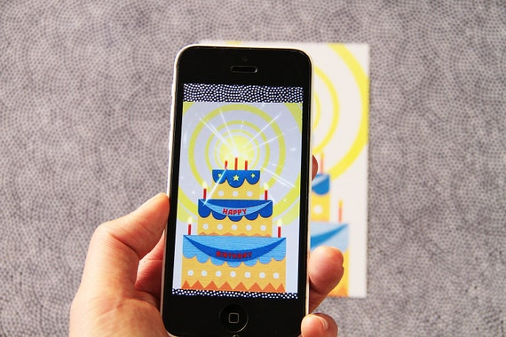 BIRTHDAY Animated Postcard -  Augmented reality Card with the free app Moving Card