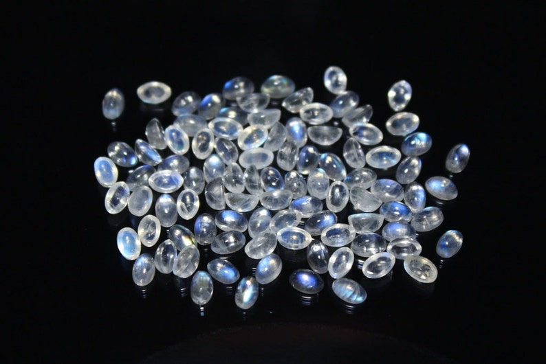 90 Pcs Of Natural RAINBOW MOONSTONE Smooth Loose Cabochon Oval Shape Gemstone 40/% Off +++AAA Quality Moonstone Rm#4770 5x3 mm Size