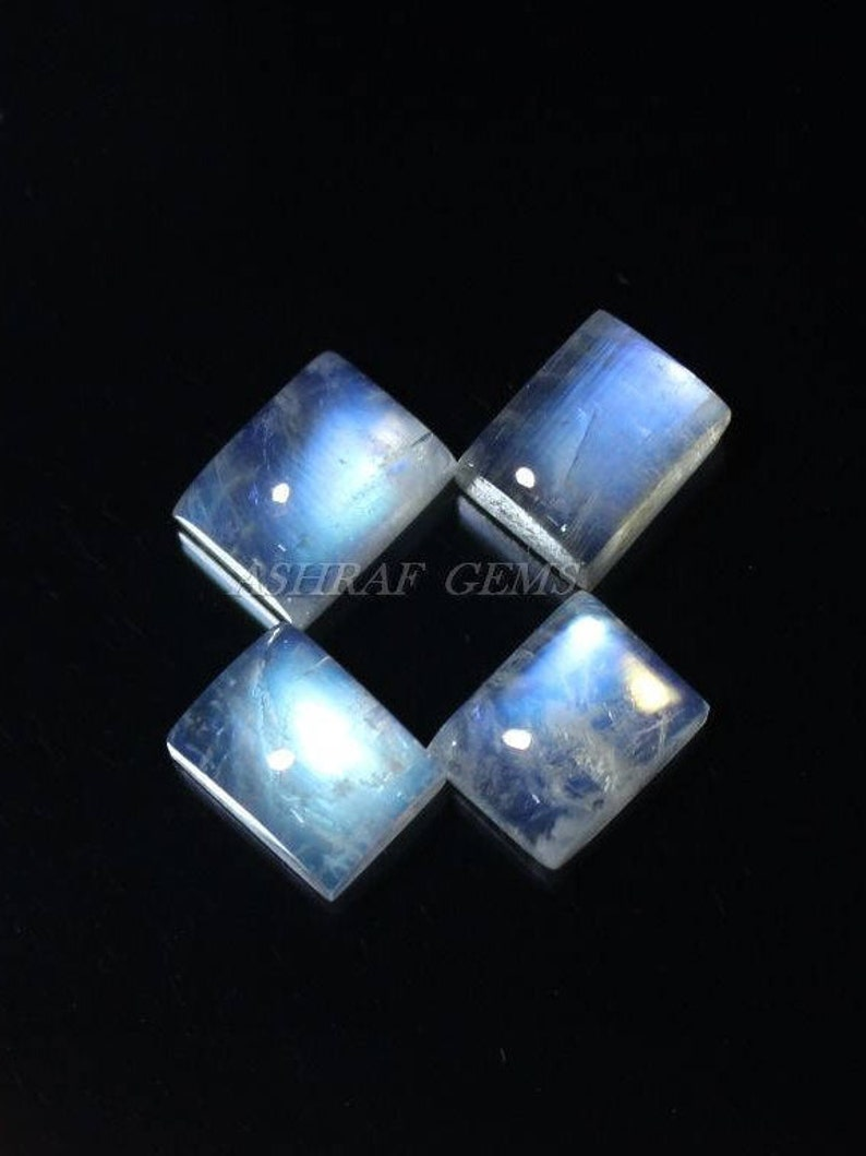 Smooth Loose Cabochon 40/% Off Cushion Shape Gemstone 9x7 mm Size +++AAA Quality Moonstone Rm#3360 4 Pcs Of Natural RAINBOW MOONSTONE