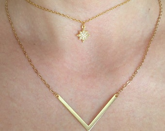 Gold layered necklace, charm necklace, gold star choker, star necklace, bridesmaid gifts, layered necklace, v necklace