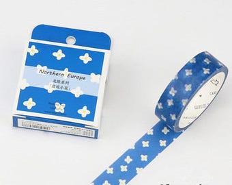 Blue Flower Japanese Washi Tape,Masking Tape, Planner Sticker,Stationery,Diary,Decorative Sticker,Kawaii Stationery,Floral
