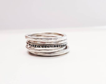 Stackable Sterling Silver Ring Bands  - Set of 5
