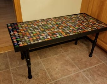 Beau Bottle Cap Coffee Table | Resin Table | Living Room Furniture | Man Cave  Furniture