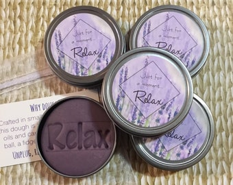 5 Lavender essential oil aromatherapy dough: gift, employee client friend co-worker stress relief gifts, party favors. Anxiety relief