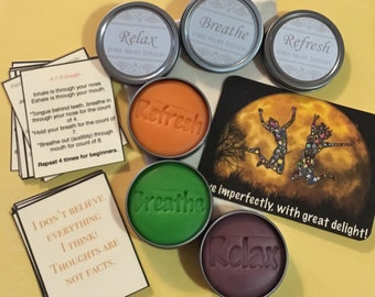 Anxiety relief kit. 3 pack dough. Affirmations, breathing cards. Orange, lavender and lime dough.