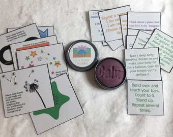Kids calm down kit. Breathing exercises. Tactile, hands on. Choose dough scent.